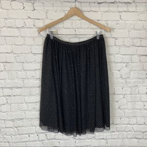 Zara Basic Collection Black and Gold Tulle Skirt L